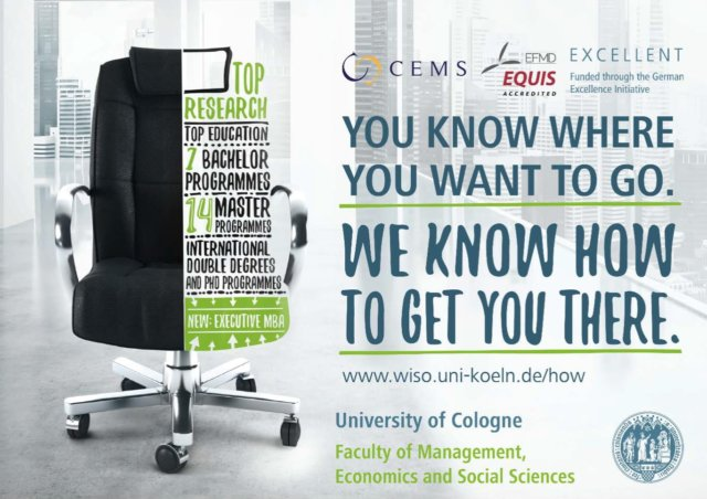 Advertisement poster for the Faculty of Management, Economics and Social Sciences.